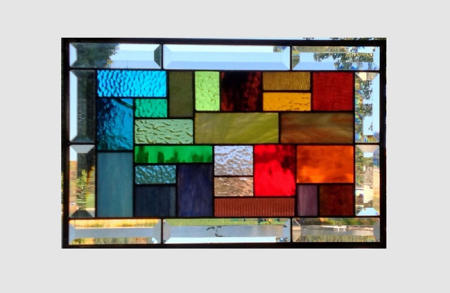 Rainbow stained glass panel window hanging geometric stained