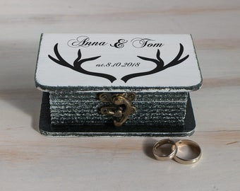 Ring Bearer Box, Wedding ring box Personalized wedding box Black & White ring box, Antlers ring box Ring holder Engagement box Book box