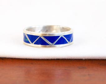Blue Chevron Ring Band Size 11 .5 Vintage Southwestern Sterling Silver Mens Ring Gift for Him