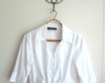 white cropped tie blouse, button up cotton shirt with pointed collar, vintage 90s Rafaella, 12 medium