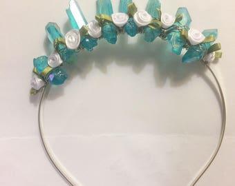 Aqua aura Flower Crystal crown, aqua aura quartz crystal crown, crystal headdress,blue bridal crown, blue flower crystal crown