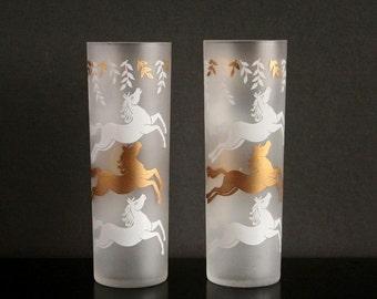 Vintage Ice tea glasses, Libbey frosted tumblers, retro barware glasses, Libbey Calvacade horses