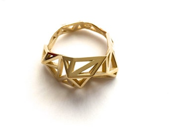 statement brass ring gift, geometric - Slim Triangulated Ring in Polished Brass. 3d printed, architectural jewelry, modern