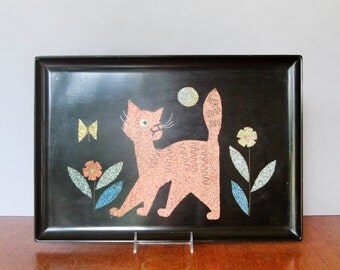 Mid Century Bar Ware Couroc Inlaid Tray - Cat / Moon in the Garden As-Is