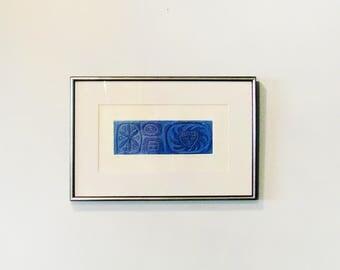 """Mid Century Rina Rotholz Print """"Medusa"""" Framed Intaglio 1967 Blue on Blue"""
