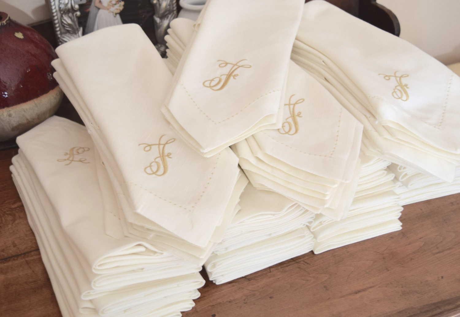 bulk monogrammed wedding napkins set of 50 custom napkins