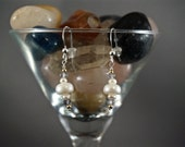 Pretty Freshwater Pearl and Sapphire Earrings