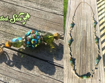 Midsummer Forest Sprite Necklace - One of a Kind Piece with Glittering Beads & Golden Branches - Ready to Ship!
