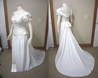 Unfinished dress w/ slight defects, wedding, costume.  Bodice and skirt with train.