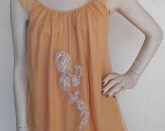 Vintage Avian Nightgown Chiffon Nylon Romantic Negligee Bronze Small