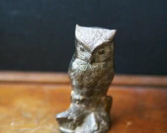 Vintage Owl Figurine / Vintage Brass Owl / Small Owl