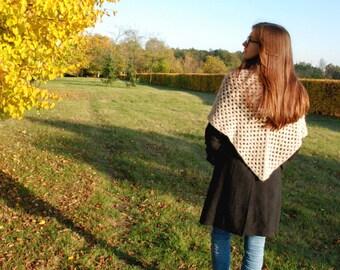Beige Crochet Shawl in Rustic Style, Beige Crochet Shawl, Womens Crochet Shawl, Boho Crochet Shawl, Rustic Shawl