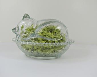 Vintage GLASS NESTING CAT Sleeping Kitty Indiana Beaded Rim Nest Basket