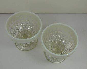 Vintage FENTON MOONSTONE HOBNAiL SHERBET Set/2 Glass Pedestal Bowl Dessert Ice Cream