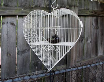 Vintage HEART WEDDING BIRDCAGE Chippy Creamy White Metal Garden Decor Candle/Plant Holder