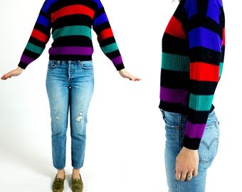 Vintage 1980s Ribbed Knit Black Purple Red Blue Teal Striped Balloon Sleeve Crewneck Pullover Cropped Fit Sweater Size XS Extra Small