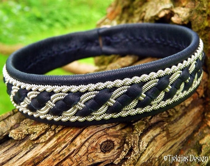 Sami Viking Bracelet | Norse FAFNIR Cuff | Custom Handmade Women and Mens Bracelet in Navy Blue Reindeer Leather from Tjekijas Design