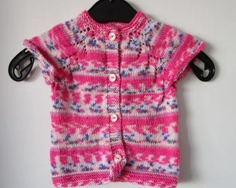 Baby Girl Knit Sweater, Baby Cardigan, Knitted Cardigan, Girl's Pink Cardigan, Baby Knitwear, Short Sleeve Sweater, Pink, Handmade Cardigan
