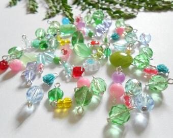 Assorted Green  Mix Glass Dangle Beads