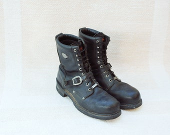 Vintage Harley Davidson Black Leather Motorcycle Boots, Mens 13 / ITEM066
