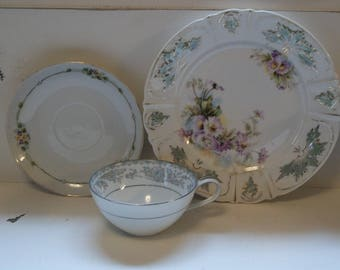 Purple & Yellow Tea Party China - Green Ivy - Mismatched set for Bridal Shower - Shabby Chic Decor -Alice in Wonderland