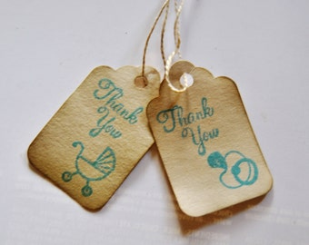 Pacifier. Binky Baby Shower thank you favor tags. stamped gift embellishment