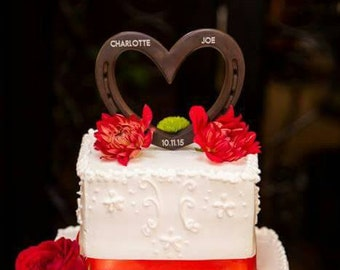 Wedding heart cake topper, brown/ rust HORSESHOE heart, barn wedding, IN STOCK, optional engraving