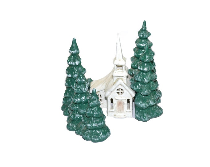 Featured listing image: Vintage Ceramic Church Ceramic Christmas Village Ceramic Christmas Trees Glenview Molds Christmas Decor