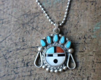 Zuni Sunface Pendant / Vintage Turquoise Inlay Jewelry / Southwest Sterling Pendant