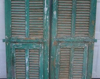 shutters,mediterranean Shutter window,Antique Wooden Architectural,rustic old shutters,salvage,Wall Decor Piece,chippy green,mediterranean,5
