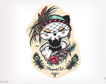 American 1920s Flapper Girl Cat Sticker Cat Black Kitty Ganbatte Black Cats Sticker