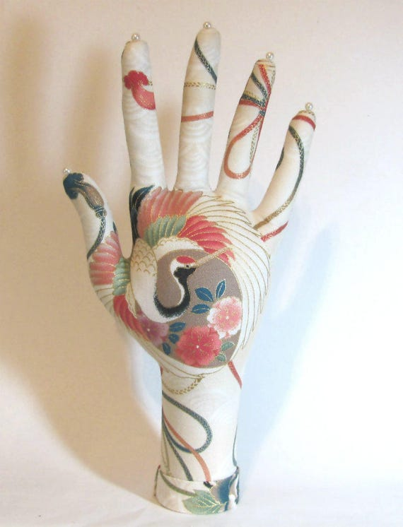 Asian Crane Fabric Hand Jewelry Display CLASSIC HAND-Stand Ready to Ship