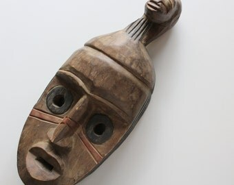 Vintage Wooden Mask Wall Hanging Made in Ghana