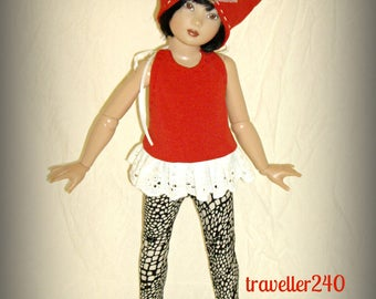 """Handmade Doll Clothes for 14"""" Helen Kish Chrysalis Dolls, Halter Top, Leggings and Hat in Scarlet Red and Animal Print, by traveller240"""