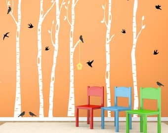 Birch Tree Wall Decal, Kids Birch Trees with Birds and Birdhouse REUSABLE Nontoxic Decals, SWD155