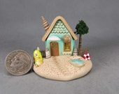 SWEET Handcrafted Miniature Fairy Seaside Cottage  OOAK by O'Dare