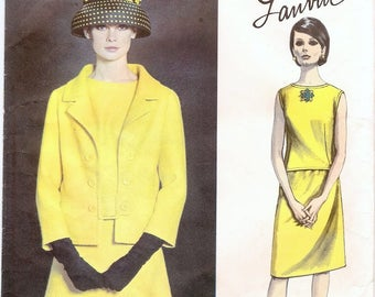 Fab Uncut Vintage 1960s Vogue Paris Original 1385 Designer Lanvin Suit, Jacket, Skirt and Shell Style Blouse Sewing Pattern B34 with Label