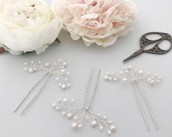 Pearl spray wedding hair pins (x3), Freshwater pearl hair pins, Silver pearl spray wedding hair pins