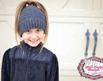 Messy bun hat ponytail hat girls womens crochet bun hat crochet ponytail hat ponytail beanie messy bun beanie gift beanie girls grey gray