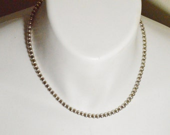"""SALE Vintage Sterling Silver Ball Beaded Chain Necklace 18"""" 5mm Beads"""