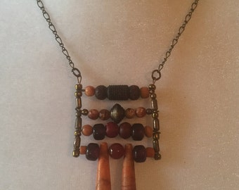 Tribal Coral Glass Wood Brass Ladder Pendant  Brass Chain Bohemian Necklace