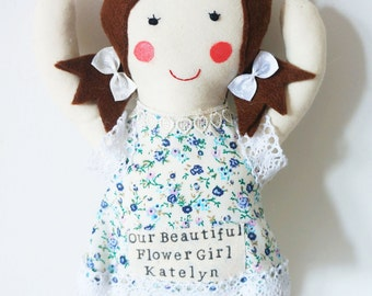handmade cloth doll with personalised name and floral dress