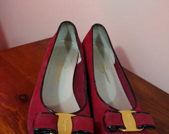 8.5 B Vintage Ferragamo Red Vara Bow Ballerina Shoes