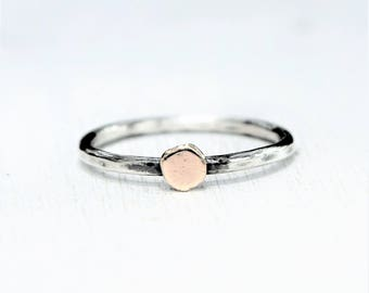 Sterling Silver and Solid 14K Gold Dot Ring - Mixed Metal - Alternative Recycled Ethical Gold and Silver - Alternative Gemstone