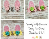 Bunny Ears, Bunny Hair Clips,Pick Your Color,Easter Hair Bows,Toddler Girls Women,Glitter Bunny Ears