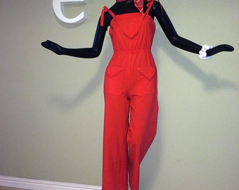 Vintage 70s Bell Bottom Jumpsuit Bright Red 1970s Hippie Boho Romper Onesie Scarf Hem Top & Pants Combined + Free Bandana Size Small Short