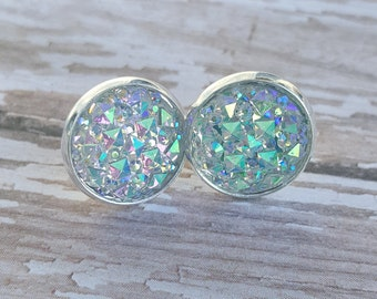 Faux Druzy Sparkly Post Earrings, Drusy Stud Earrings-AB Finish-Shimmer and Shine-Silver Plated Posts-12mm in size-Hypoallergenic