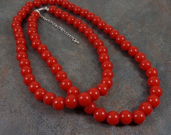 Red Long Rope Necklace, Round Bead Necklace, Strand, Layering Necklace, 12mm, Red Bead Necklace, Long Necklace