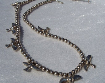 Silver Flying Bird Necklace Sterling Silver Ball Bead Chain Necklace FREE SHIPPING