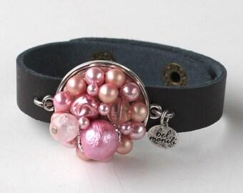 Pink Bracelet, Pearl Jewelry, Snap Bracelet, Leather Cuff, Cuff Bracelet, Vintage Bracelet, Recycled Bracelet, Upcycled, Boho Bracelet